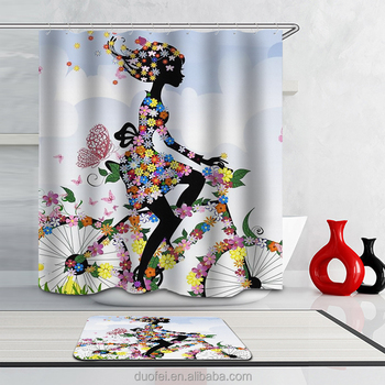 Beautiful Flower Girl Bathroom Fabric Shower Curtain Sets With Hooks