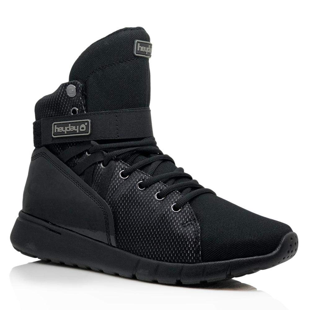 4da99e0c4f6d0e Get Quotations · Heyday Footwear Triple Black Mission Trainer High Top  Sneakers for Bodybuilding and Cardio