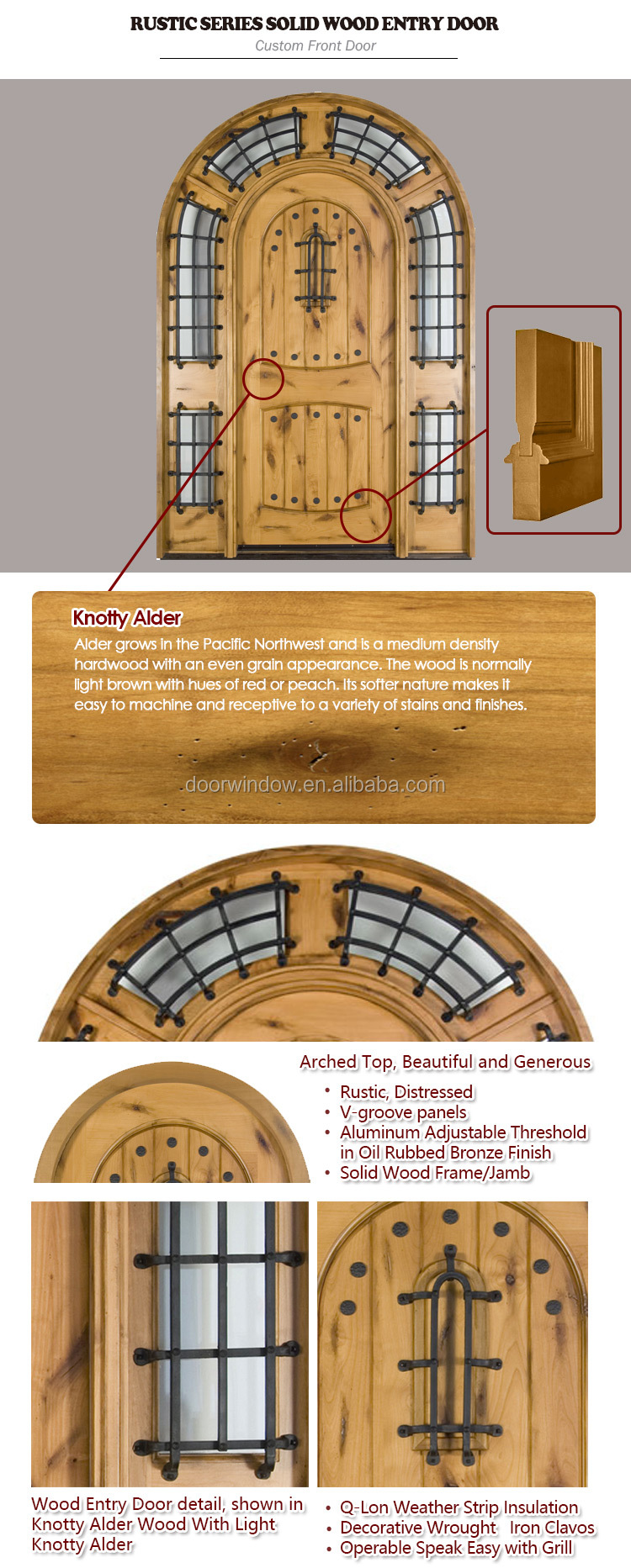 Solid Nature Oak/Pine/Cherry Wood Armor Front Door for Entrance