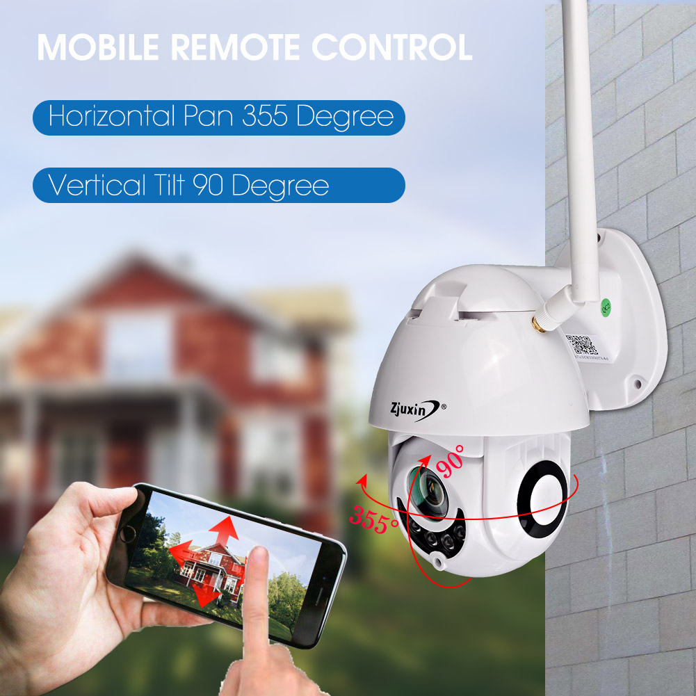 Intérieur extérieur sans fil wifi onvif cctv p2p 2mp full hd ip caméra dôme ptz ip66 boîtier de caméra avec microphone de haut-parleur d'icsee