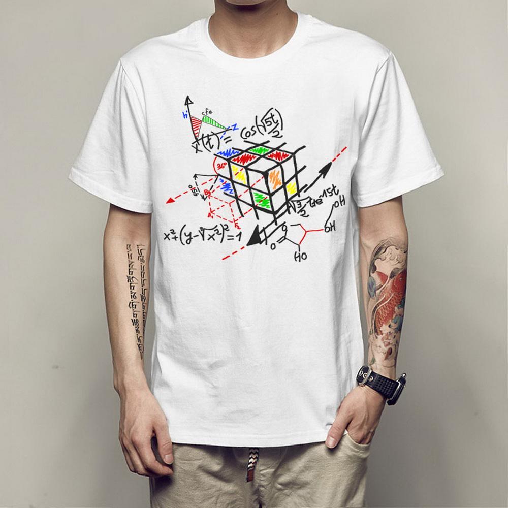 71222e2e76544 Cubo geométrico rubik T camisas dos homens cubo mágico criativo t ...
