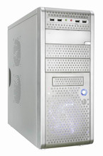 ATX computer case white color,tool free,transparent side