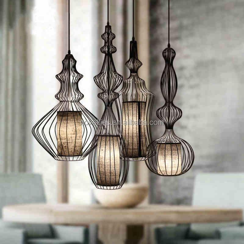 High Quality Modern Iron Cage Pendant Lighting Restaurant Project ...