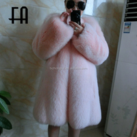 Factory direct fashion pink lady's saga fox fur overcoat /fox fur coat