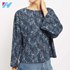 YIHAO custom mix pattern fashionable ladies satin office printing long sleeve o neck blouse