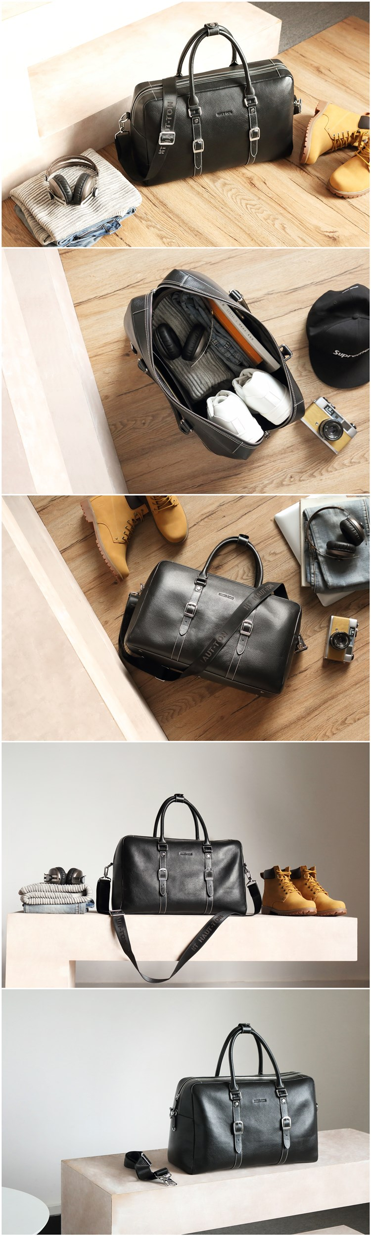 Hautton Popular Compatible Quality Top Leather Travel Duffel Luggage Bag leather men briefcase