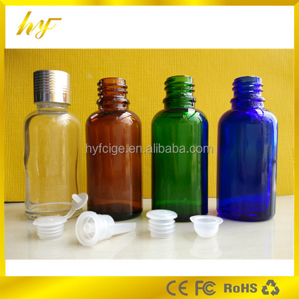 gold&silver aluminium screw cap 30ml clear/amber/blue/green glass bottle with plastic inserted dropper