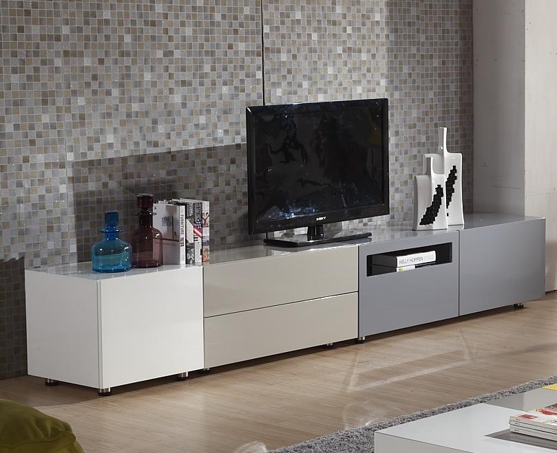 Moderne haute noir brillant meuble tv design dans le salon for Armoire television salon