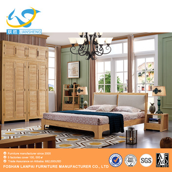 Modern Unique Head Board Solid Wood Bed Room Furniture Latest Double Bed  Designs Nordic Wooden Bed