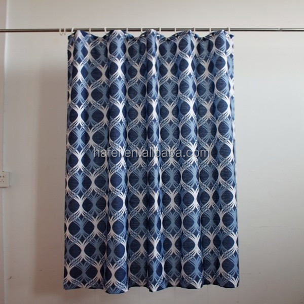 Mesh pocket Hot Sale White And Blue Shower Curtain