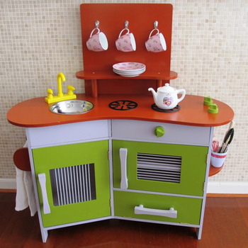 Multifunctional Red Kitchen Toys For Pretend Diy Wooden Toy Sets