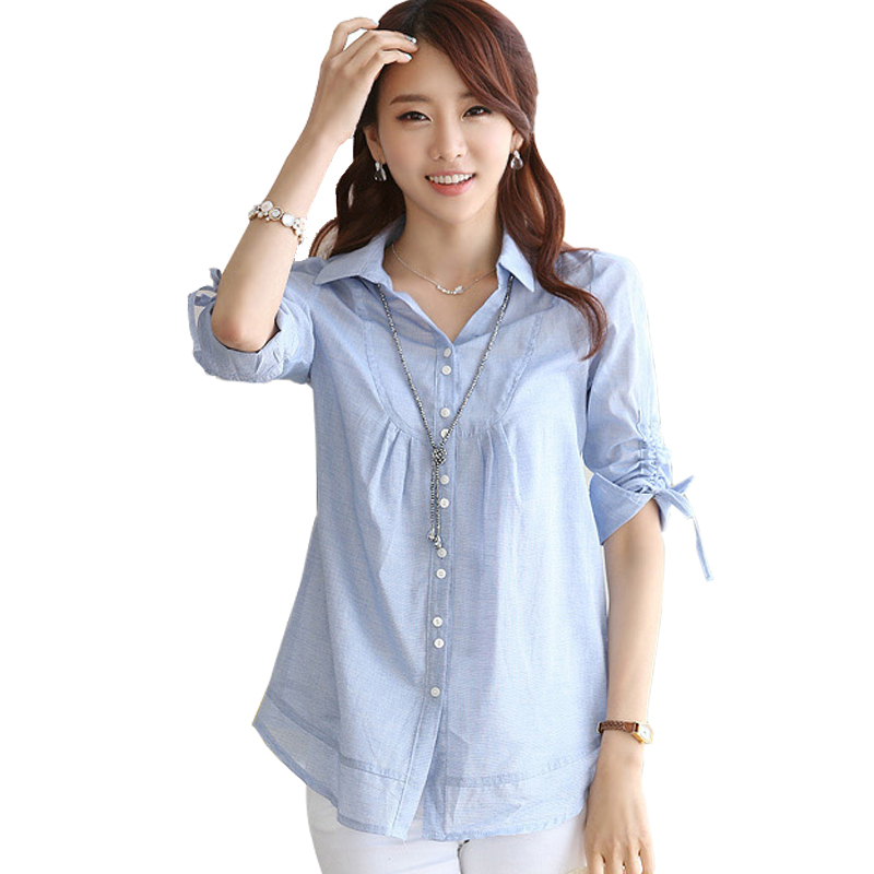 Ladies Office Shirts Blue Women Blouses 2015 Summer Korean Fashion Clothing Loose Blouse Embroidery Vintage Woman Tops Plus Size