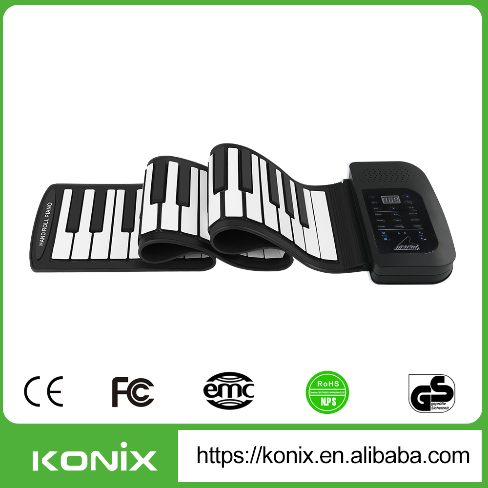 61 Keys Flexible Soft Portable Electronic Digital Roll Up Keyboard Piano with Micro USB MIDI Speaker Out