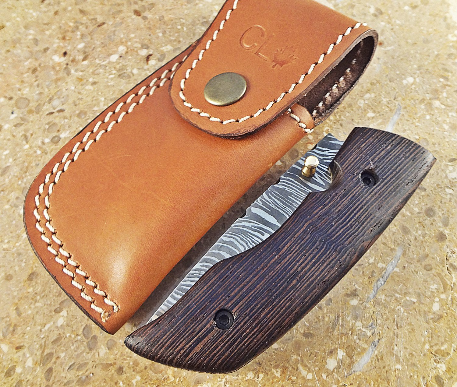 Christmas Gift Offer by ColdLand Knives (LIMITED EDITION) | One-Of-A-Kind Custom Handmade Damascus Steel Folding Pocket Knife Exotic Padauk Wood Handle WF17