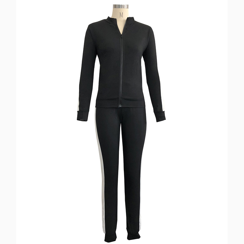 cheap custom slim fit plain sport tracksuit sets for women stand neck jacket