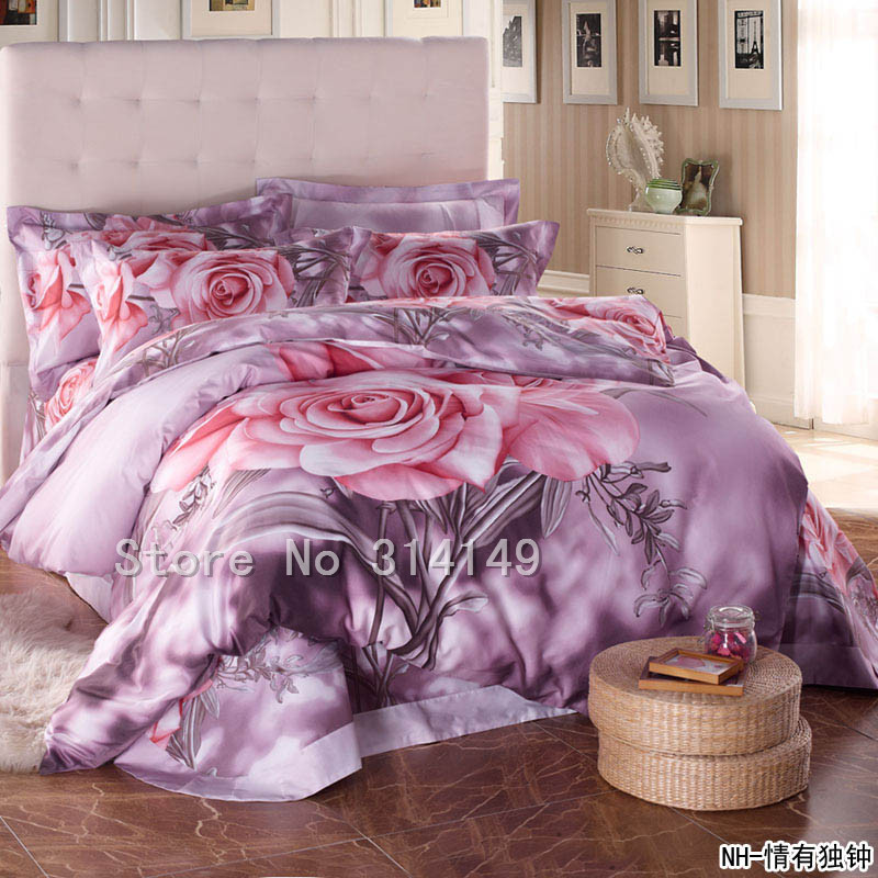 free shipping 100 cotton 4pcs queen full king bedlinen pink rose floral light purple comforter. Black Bedroom Furniture Sets. Home Design Ideas