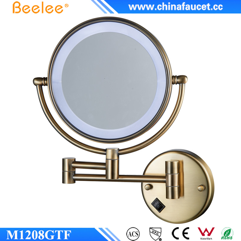 Beelee M1208GTF Wall Mounted Brass Mirror Framed Gold Plated Folding Bathroom Makeup Mirror with 3X magnification
