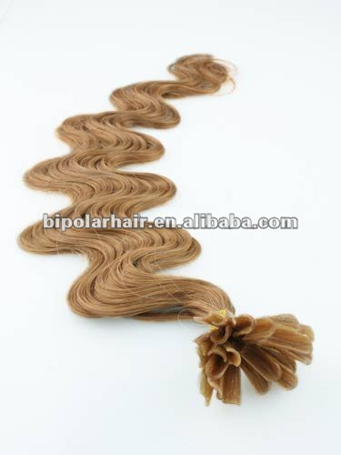 Wholesale 27# Human hair curly U-tip keratin pre bonded hair extension