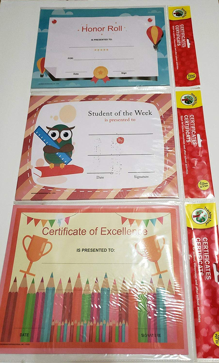 Back to School Teaching Tree Rewards Certificates Bundle: Honor Roll, Student of The Week, and Certificate of Excellence – Bundle of 3