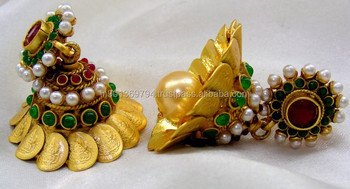 Designer Temple Style Golden Jhumka Earrings Buy Latest Design Of