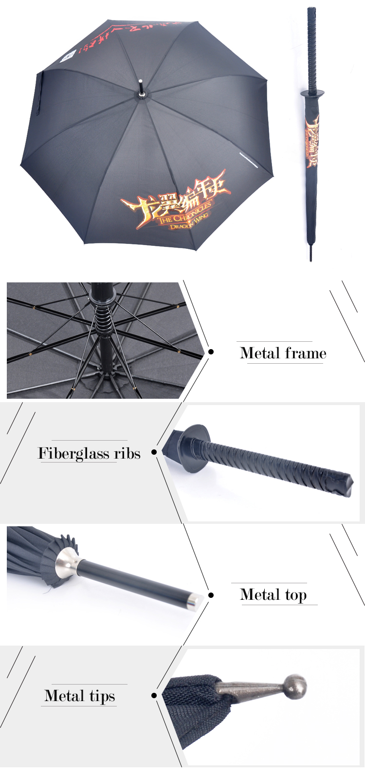 SW-02 custom made unique shape creative samurai sword umbrella