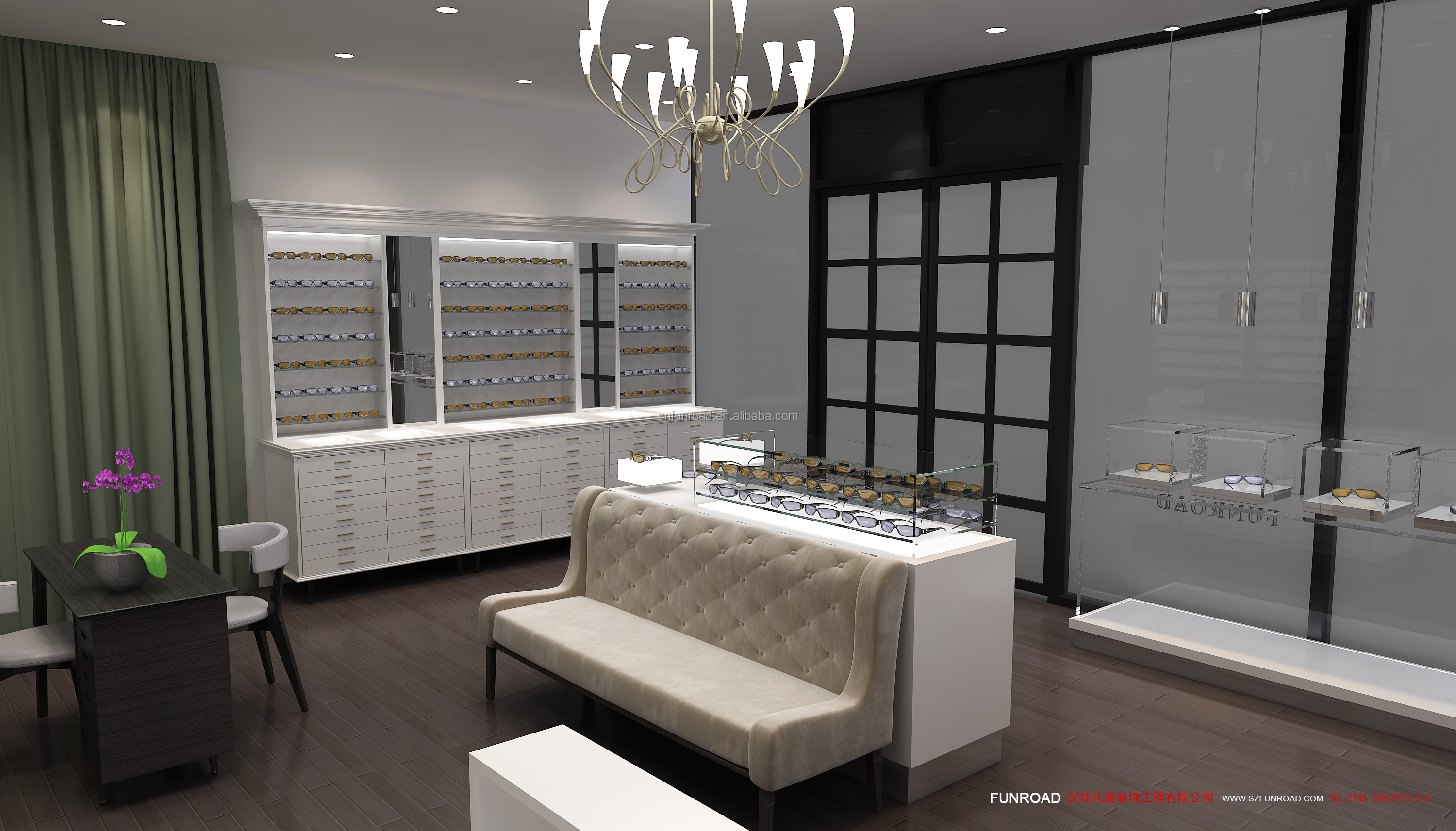 optical store interior design sunglasses showcase eyewear counter