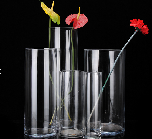 Cheap glass flower vase clear cylinder wedding vases for wholesale.