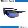 Trendy design retro men women half rim protective sports custom logo reflective blue lens sunglasses goggles