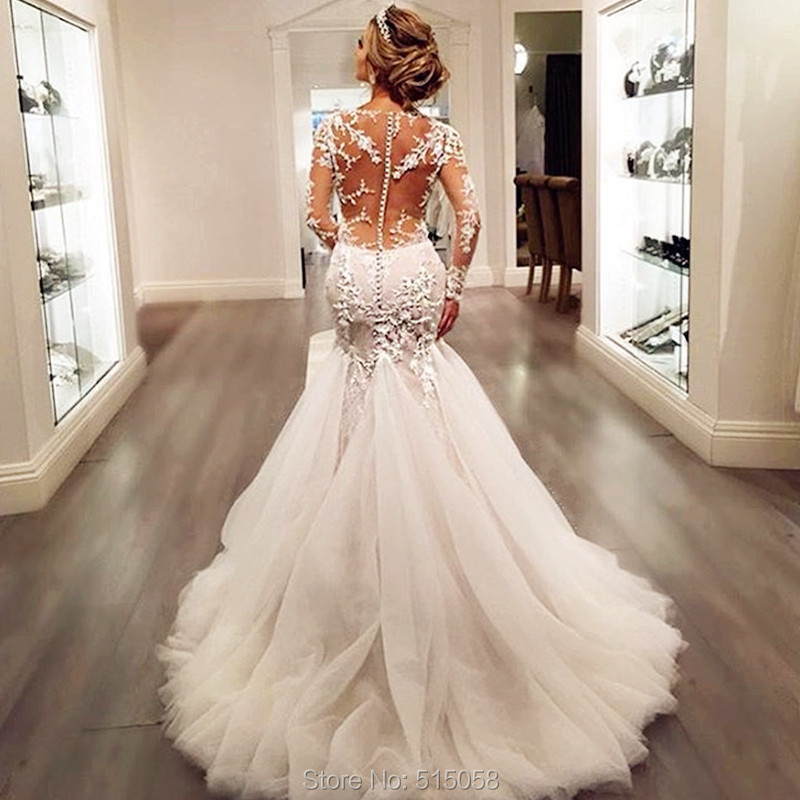 2018 New Simple Elegant Wedding Dress Beautiful Lace A: Bratkleid 2016 Sheer Lace Appliques Long Sleeves Mermaid