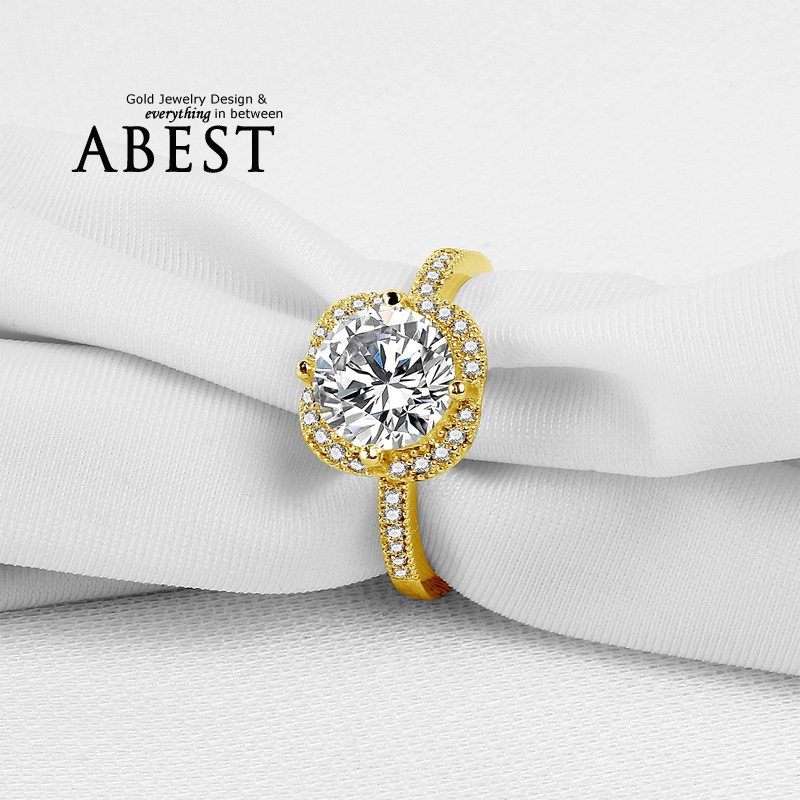 Big Round Flower Halo 10K Yellow Gold Ring Sona Simulated Diamond Jewelry Ring New Wedding Engagement Ring For Women Gift