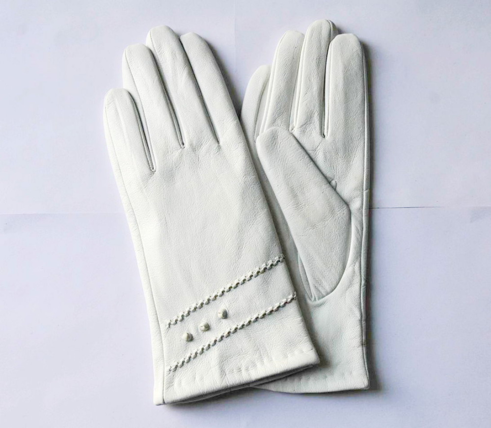 Cheap Simple Decorative Line Ladies Genuine Leather Hands Gloves