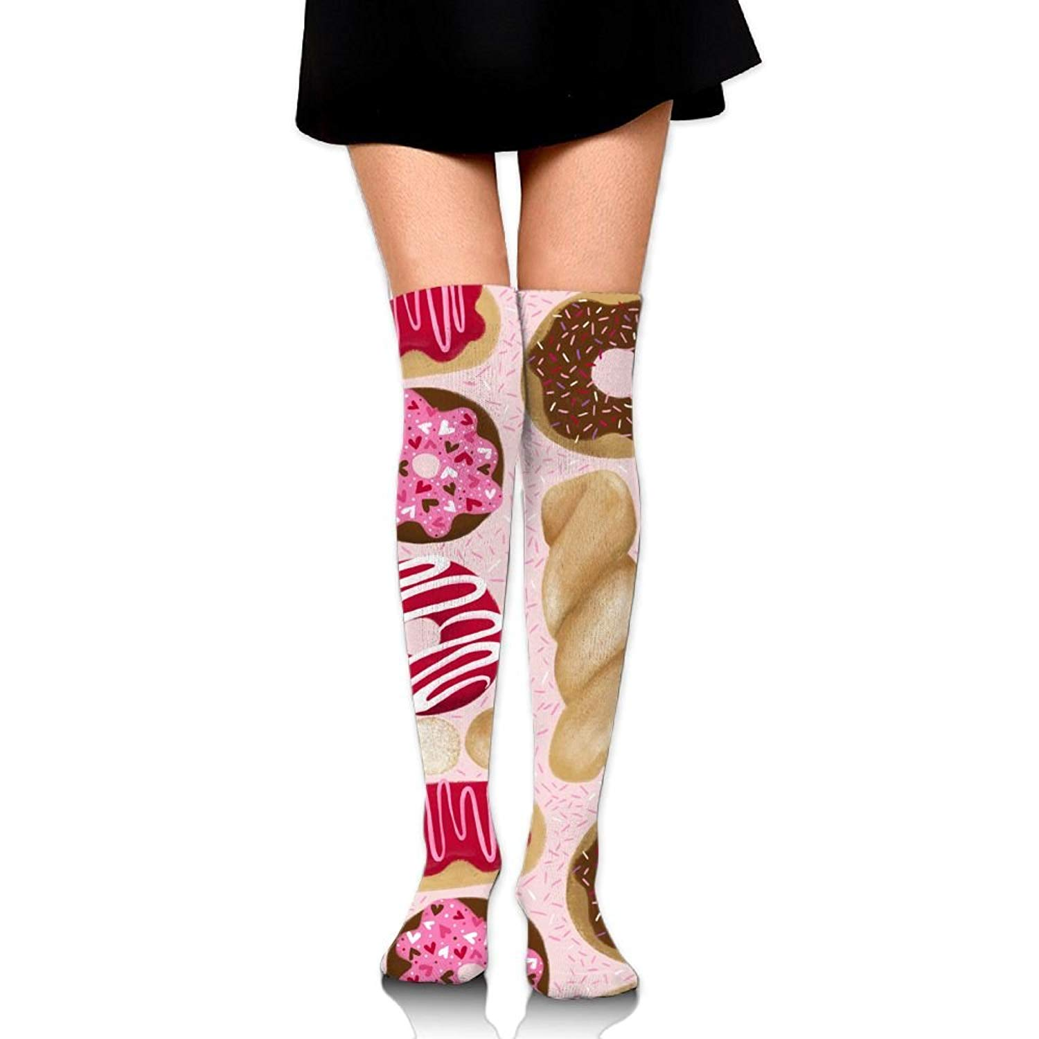 Zaqxsw Doughnut Women Unique Thigh High Socks Long Socks For Teen Girls