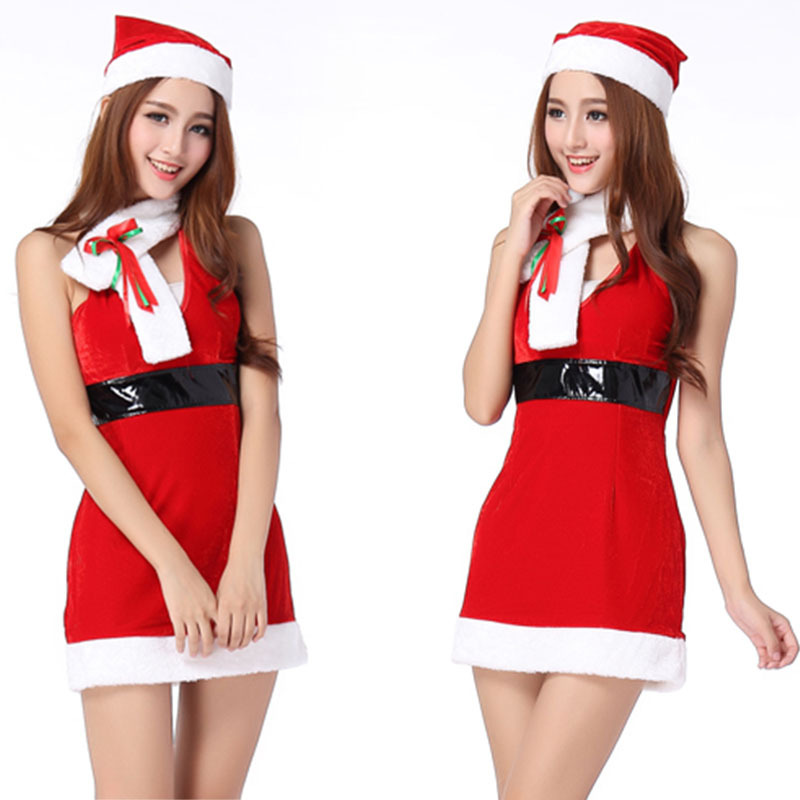 Get Quotations · Women Christmas Costumes Female Christmas Red Dress Women  Sexy Cosplay Party Costumes fantasias femininas 504859cd9c8c