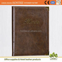 elegant classic style genuine leather restaurant fast food restaurant menu