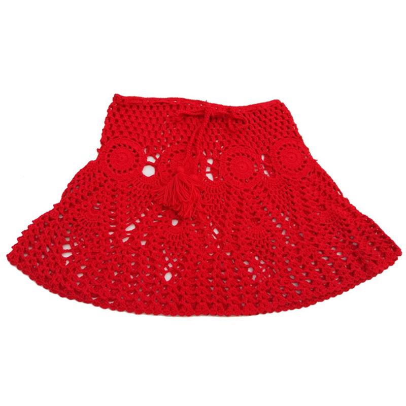 Simenual, сексуальный летний купальник «кроше», цветочные мини юбки в стиле бохо, прозрачное парео, пляжная одежда ручной работы, открытая корот...(Китай)