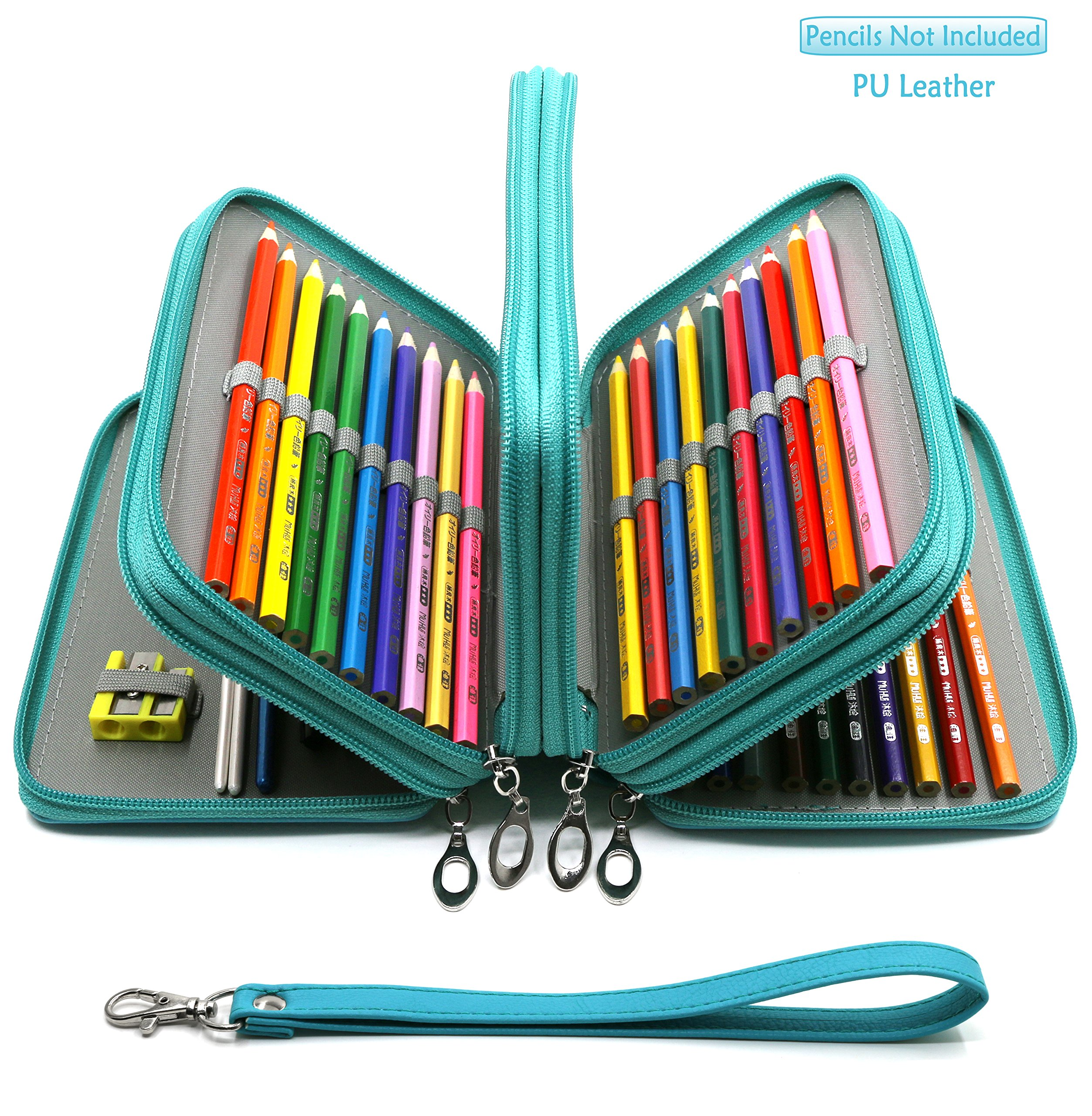 YOUSHARES 72 Slots Pencil Case - PU Leather Handy Multi-layer Large Zipper Pen Bag with Handle Strap for Colored / Watercolor Pencils, Gel Pen, Makeup Brush, Small Marker and Sharpener (Turquoise)
