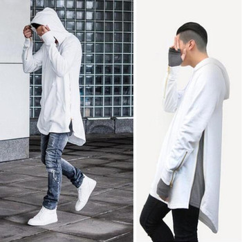 Wholesale Mens Hip Hop Side Zipper Curved Hem Longline Blank Pullover Hoodies