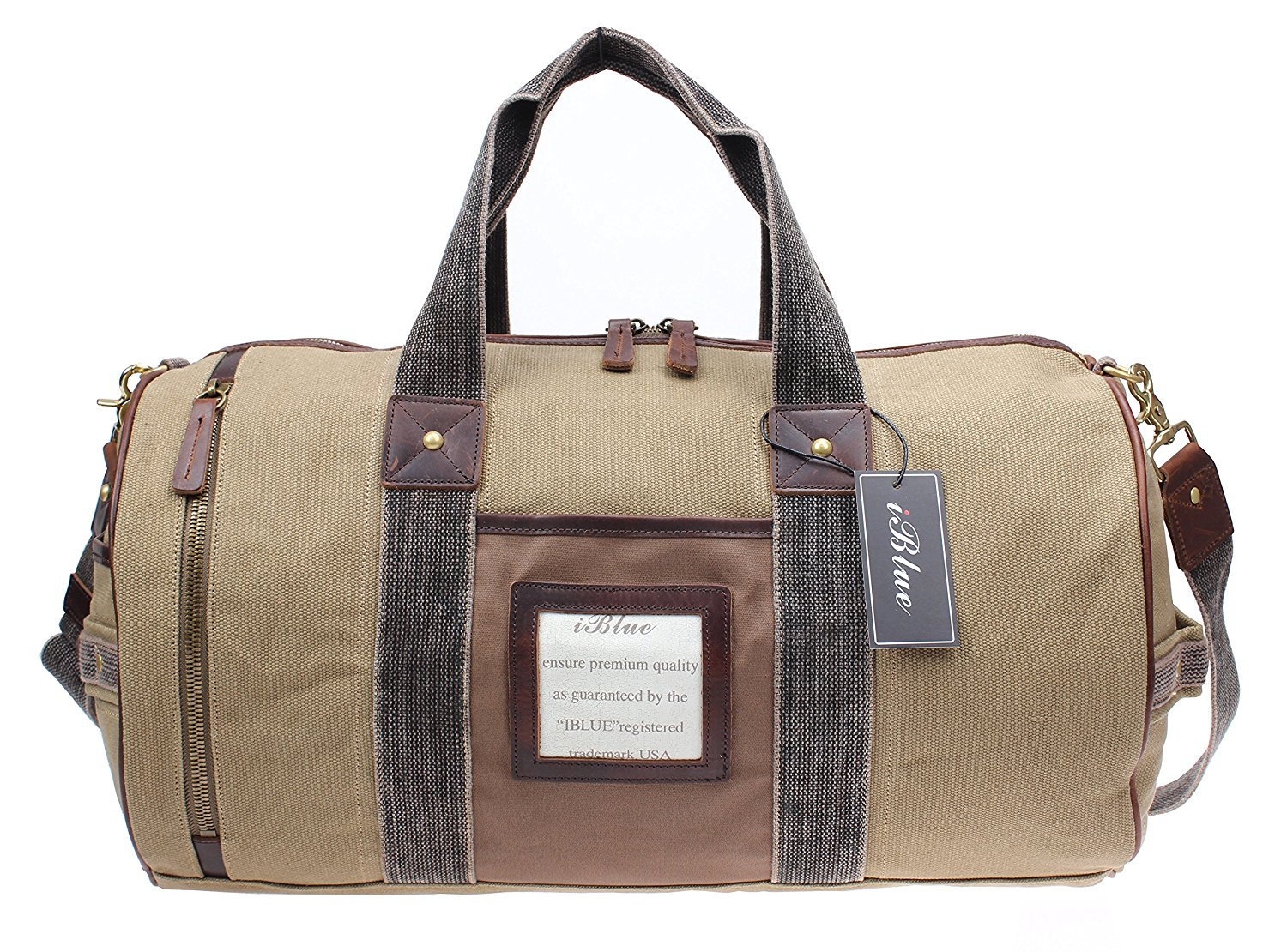 7961de7430 Get Quotations · Iblue Durable Canvas Weekend Gym Hand Bag Mens Leather  Vacation Flight Travel Overnight Bag Khaki 10184