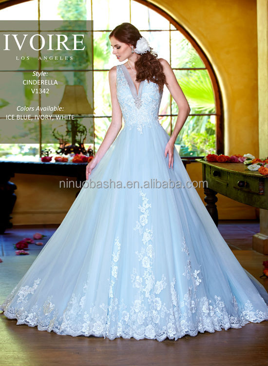 Charming Kitty Chen 2014 Blue Plunging Neckline Backless Tulle Made ...