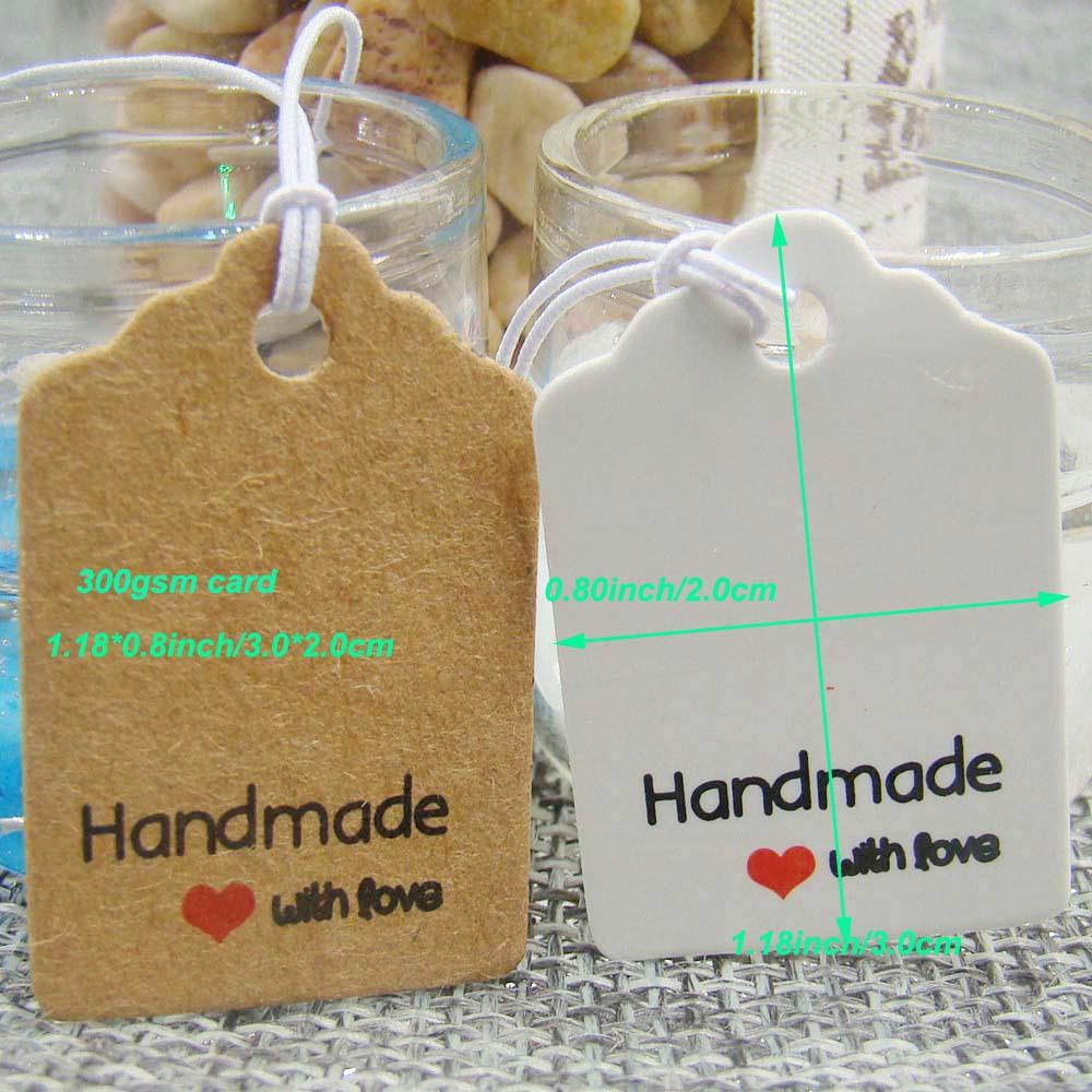 139e5f83a0ac Pretty favors kraft/white paper handmade with love gift tag happy birthday  hang tag 100pcs +100pcs hemp string for favors tag