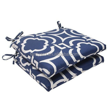 Set Of 2 Geometric Navy Sky Blue Outdoor Patio Seat Cushions Vinyl