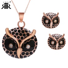 RIR 14K Gold Plated Diamond Owl Earrings Jewelry Sets,AAA Austria Crystal Owl Pendant Necklace Jewelries