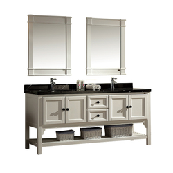 Modern Double Sink High Gloss Black Finish Marble Matt White Bathroom Vanity
