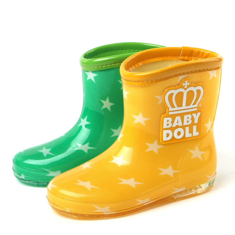 TONGPU colorful lining children clear pvc rain boots