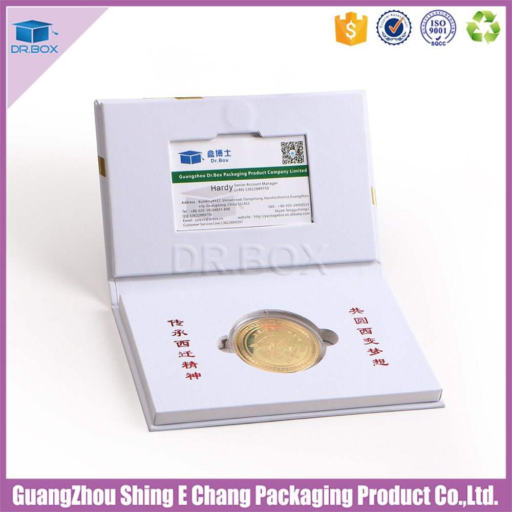 White Color Gold Coin Gift Box,Rigid Set Up Box With Business Card ...