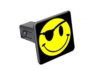 """Smile Smiley Pirate Face - 1 1/4 inch (1.25"""") Tow Trailer Hitch Cover Plug Insert"""