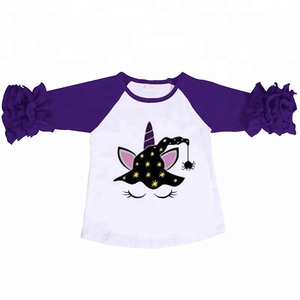 Toddler Girls White Shirts Kids Cotton Ruffle Unicorn Top Wholesale Baby Clothes