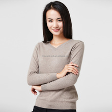 2017 new designs v neck knitwear women wool cashmere sweater