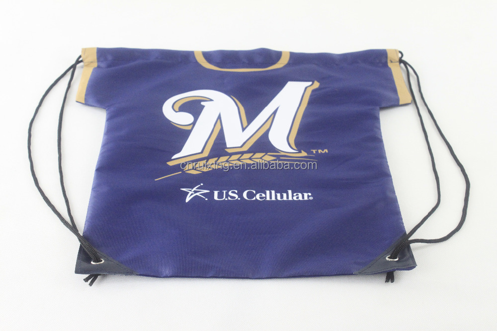 210D polyester T-shirt backpack plain drawstring bags