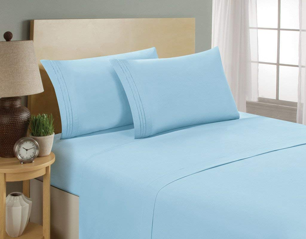 Luxurious Sheets Set 1800 3-Line Collection Brushed Microfiber Deep Pocket Super Soft and Comfortable Hotel Collection Sheets by Bellerose - Twin, Aqua